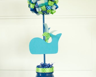Whale Birthday Party Baby Shower Ribbon Topiary Centerpiece One (1) Birthday Baby Shower Party Decoration Green Blue Whale Party