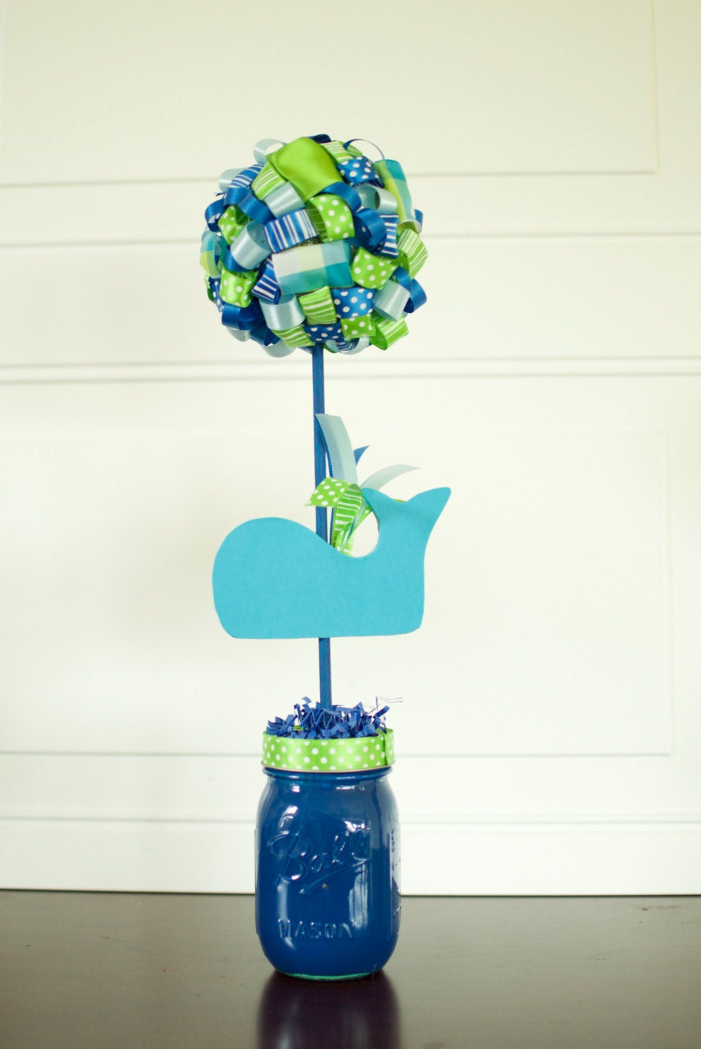 Whale birthday party baby shower ribbon topiary centerpiece