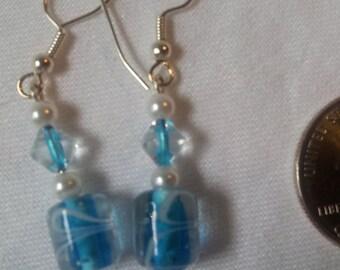 Turquoise Glass Swirled Earrings