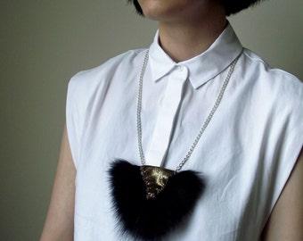 Small Leather Dark Grey Fur Statement Necklace