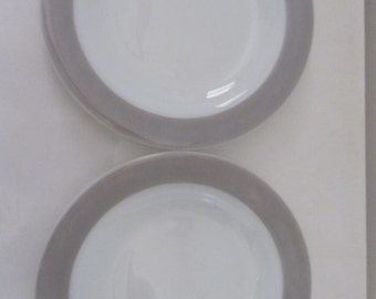 PYREX - Set of 2 Side/Salad/Dessert plates milk glass with Dove Gray/Tan Band - 1950's