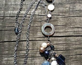 Long necklace precious stones, lapis lazuli , freshwater pearl, Swarovski pearl, shell
