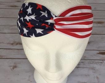 American Flag Turban Headband  - USA Turban Headband - 4th of July Turban Headband