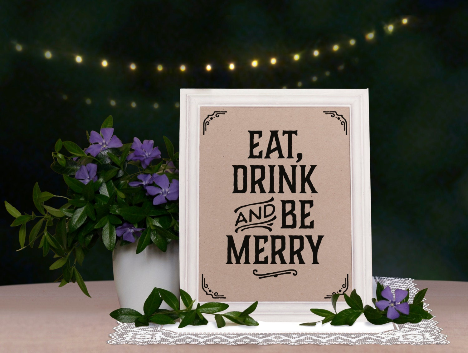 wedding signs  eat drink and be merry sign  rustic wedding