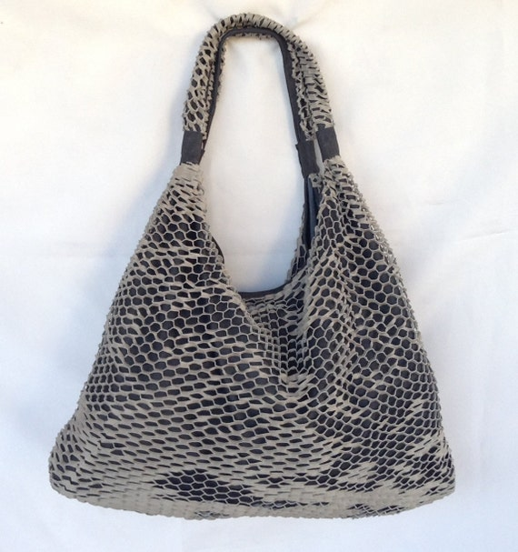 Stylish Leather Hobo Bag Grey Black Tote Boho Large Special OLA Olaccessories FREE SHIPPING