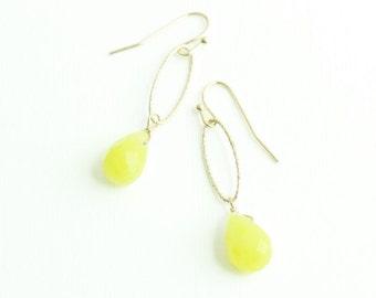 Lime Green Chalcedony Gold Drop Earrings