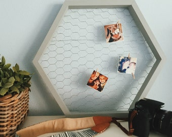 Gray honeycomb display for jewelry, photos and more!