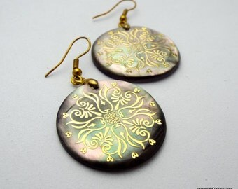 Earrings of Mother of Pearl Shell carved