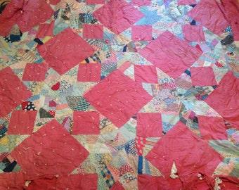 Clearance vintage,Antique,handmade,Quilt-Stars 8 points, Antique,Rare design