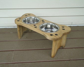 Elevated, wood, handmade, DOG FEEDER,  with two stainless steel bowls