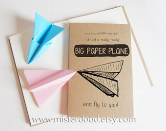 PAPER PLANE Notebook, Blank Journal, Kraft Vintage Diary, Cute Missing You Aeroplane Travel Cloud Sky Flying, Long Distant Relationship