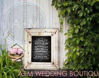 Wedding Sign Instant Printable // Funny Open Bar Warning/ Drunken Shenanigans // Rustic // Chalkboard // White INK  //  11x14