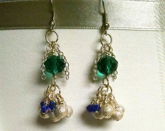 Sparkling Green, Blue and Silver Dangle Earrings