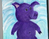 "Purple Flying Pig mini canvas art, acrylic painting, easel 2.5"" x 3.5"" when purple pigs fly, Original, purple pig art, animal"