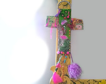 Pink Flamingo Cross, Hanging, Vintage Textiles, Pompoms, Beaded, Wall Decor, Spiritual, Kitsch, Bohemian