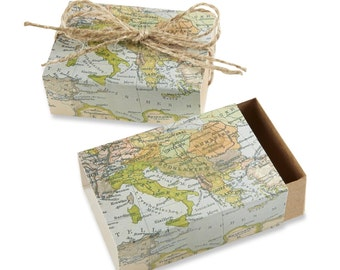 Map Favor Boxes - Around the World Favor Boxes - Travel Theme Favor Boxes 24 Boxes