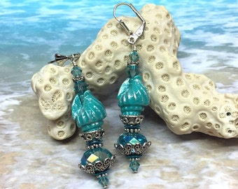 Shell Earrings, The BIrth of Venus, shell earrings in teal and silver.