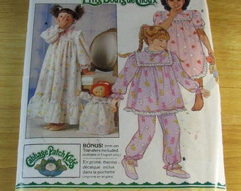 Butterick UNCUT size 4-5-6 Cabbage Patch Pajama / Nightgown Pattern # 4139