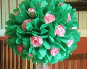 "DIY Tissue Pom Rose Bush, topiary, green, 12""-18"" diameter, bloomed rose blossoms,alice wonderland,garden,counrty,tea party"