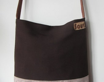 ON SALE Down The Road Chocolate Brown and Gingham Sling Tote Bag