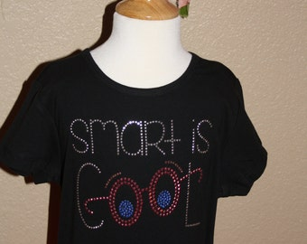 SMART IS COOL rhinestud tee by 1286 Kids (formerly Daisy Creek Designs)