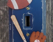 Kids Switch Plate Cover SPORTS - Hand Painted Wood
