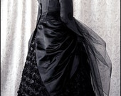 Black Silk Brocade Midnight Bustle Jacket by Kambriel - Gothic Bats - Designer Sample - Brand New & Ready to Ship!