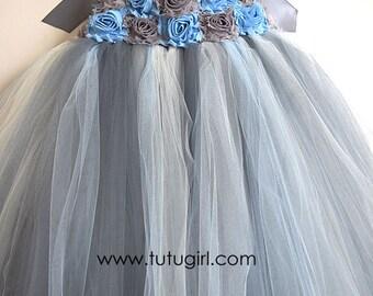 Gray and Blue Tutu Flower Girl Dress, Blue Gray Flower Girl Tutu Dress, Ivory or White Skirt Accents