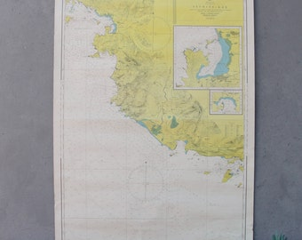 Vintage Nautical Sea Map Pull Down Map 1979 Made in Turkey 1970's Sea Sailing Map Geography