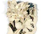 Wall Hanging - Porcelain Ceramic Wall Sculpture - Flower Garden - Handmade Pottery - Ready to Ship