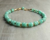 West End Bracelet with Amazonite and Gold Vermeil Nuggets Boho Chic Fashion
