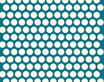 Birch Dottie Cream Teal Organic Cotton Fabric