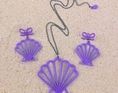 Mermaid Shell SET - Laser cut Scallop Shell Necklace & Earrings Set (C.A.B. Fayre Original Design)