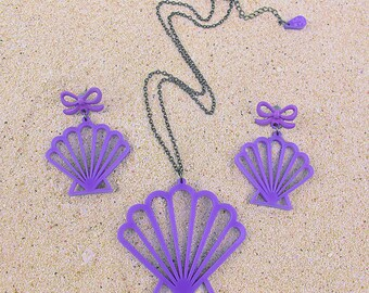 Mermaid Shell SET - Laser cut Scallop Shell Necklace & Earrings Set (C.A.B. Fayre Original Design)