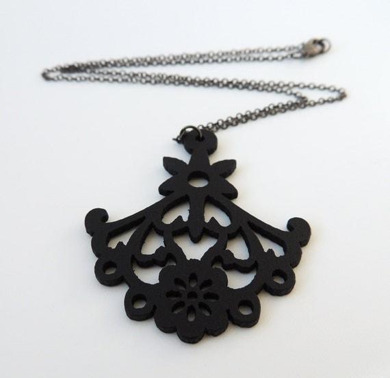 Black Chandelier Necklace -- Filigree Wooden Cut-Out -- Large Ornate Pendant -- UK Store