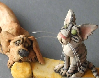 Dog and Cat Sculpture - Bone of Contention