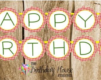 Farm Friends Party - Custom Farm Happy Birthday Banner by The Birthday House