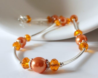 Orange Bridesmaid Jewelry, Pearl and Crystal Bridesmaid Necklaces, Mandarin Wedding Jewelry, Orange Pearl Jewelry, Matching Bridesmaid Sets