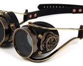 STEAMPUNK GOGGLES black leather blackened brass CLOCKWORK special edition