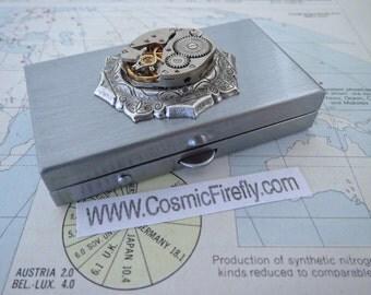 Steampunk Pill Box Vintage Watch Movement Silver Tone Case Tiny Size Pillbox