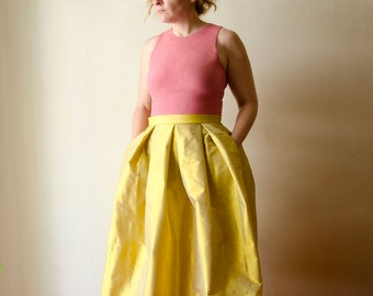 Yellow Maxi Skirt, Silk Taffeta Long Evening Skirt with Pleats and Pockets, Prom Skirt, Bridesmaids Skirt,  Available in Plus Sizes