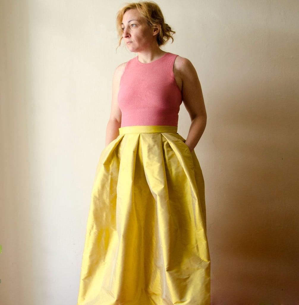 Yellow Maxi Skirt Silk Taffeta Long Evening Skirt with Pleats