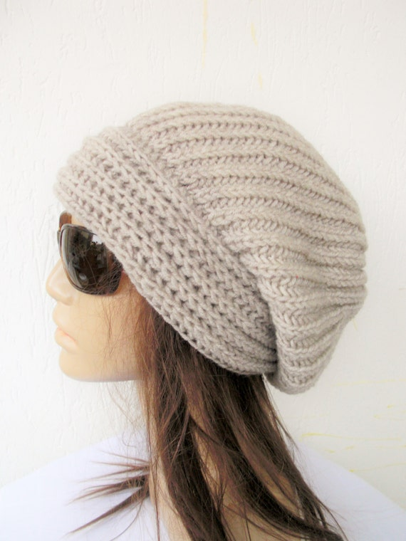 Hand Knit  Womens hat-  chunky knit Slouchy Beanie  Slouchy  Hat -  Gift for her - Womens Gift - Winter Accessories  Winter   fashion beige