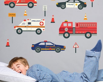 Emergency Vehicles Wall Decals, Removable and Reusable Police Car, Fire Truck, Ambulance, EMS Fabric Wall Decal Stickers