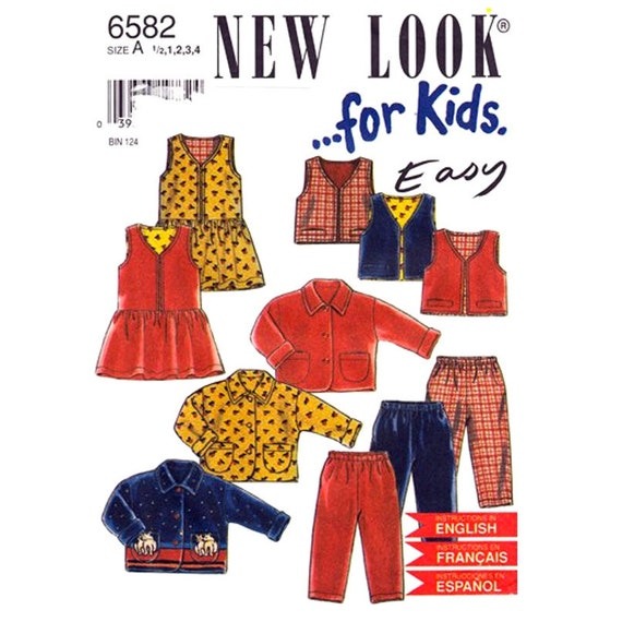 Girls Sewing Pattern Jacket, Vest, Drop Waist Dress, Pants New Look 6582 Toddler Size 1/2 1 2 3 4