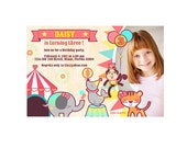 Girl Circus Invitation or Carnival invitation printable for birthday or baby shower, thank you card