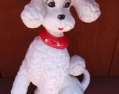 Vintage 60's Large White Ceramic French Poodle with Red Collar