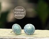 Iridescent Mint Stud Earrings, Titanium Posts, Faux Shell, Mermaid's Earrings, 12mm
