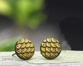 Gold Metallic Dragon Scale Stud Earrings, Antique Gold Finish, Titanium or Stainless Steel Posts, Myths and Meadows Collection