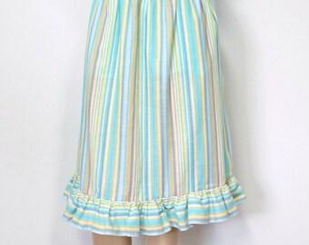Vintage Skirt Circus Stripe Ruffle Prairie Boho Full Skirt Summer Cotton Blend Skirt Size 14